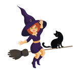 Little witch on a broom. The little red-haired witch and black cat fly on the broom Stock Images