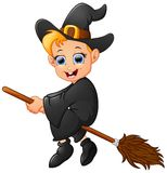 Little witch cartoon flying Royalty Free Stock Images