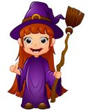 Little witch cartoon holding broom Royalty Free Stock Photo