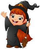 Little witch cartoon holding broom Stock Photography