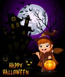 Little witch cartoon holding broom and pumpkin on haunted castle background Royalty Free Stock Photo