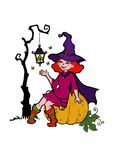 Little witch with a flashlight. Halloween special  illustration of little witch Royalty Free Stock Image