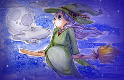 Little witch flying Stock Images