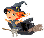 Little witch flying on a broom stock illustration