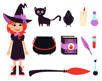 Little witch girl. Little girl witch and icon set on white background. Vector illustration Royalty Free Stock Photo