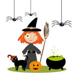 Little witch girl. Nice cute witch girl with funny black cat in stripped hat, halloween pumpkin and smiling spiders Royalty Free Stock Photos