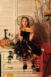 Little witch with Halloween decor. Halloween party and celebration. Concept. Girl with dreamy face on spooky carnival room background. Kid in witch hat and stock photos