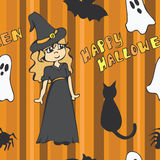 Little Witch Halloween Seamless Pattern. A cute halloween themed seamless pattern with a witch, ghosts and other various creatures Vector Illustration