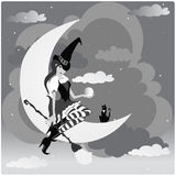 Little witch. A with on the moon with her cat stock illustration