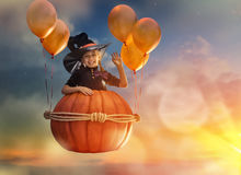 Little witch outdoors Stock Images
