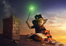 Little witch outdoors Royalty Free Stock Photography