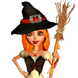 Little witch in portrait. 3d rendering of a friendly witch as a portrait illustration Stock Photo