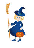 Little witch with a pumpkin-lantern on Halloween. Little witch with a pumpkin-lantern and broom on Halloween on a white background Royalty Free Stock Image