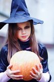 Little witch with a pumpkin Stock Photos
