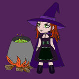Little witch in purple dress Stock Photos