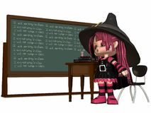 Little Witch at school Stock Images