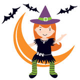 Little witch sitting on moon Stock Photo