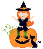 Little witch sitting on pumpkin Stock Images
