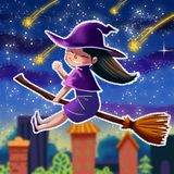 Little Witch Sticker. Video Game`s Digital CG Artwork, Colorful Concept Illustration, Realistic Cartoon Style Background Royalty Free Stock Photography