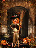 Little witch to halloween. 3d rendering of a little halloween witch in the autumn as illustration Stock Photo