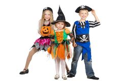 Little Witch and Two Charming Pirates going to Halloween Royalty Free Stock Image