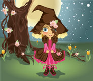 Little witch in the woods Royalty Free Stock Photography