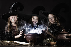 Little witches Stock Images