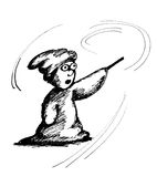 Little wizard. Hand drawn image of a little wizard dressed in a large robes Royalty Free Stock Photos