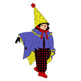 Little wizard. Boy dressed as wizard for Halloween stock illustration