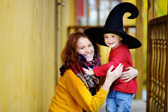 Little wizard and his young mother Stock Photo
