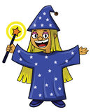 Little wizard with magic wand cartoon Stock Images