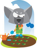 Little wolf standing with shovel Royalty Free Stock Image