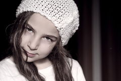 Little woman. Portrait of little girl with white hat Stock Photo