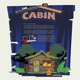 Little wood cabin log  in the forest come with tools that build. The cabin. night time. typographic for header design - vector illustration Royalty Free Stock Images