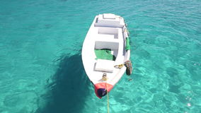 Little wooden boat floating in the Red sea, Egypt stock video footage