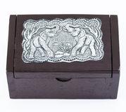 Little Wooden Box with Steel Plate Elephants Texture Royalty Free Stock Image