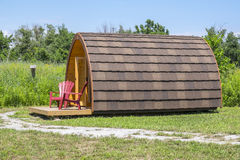 Little Wooden Cabin at a Camp Site Stock Image