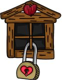 Little wooden house with love padlock Royalty Free Stock Photo