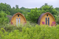 Little Wooden Huts at a Camp Site Royalty Free Stock Photos