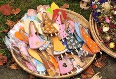 Little wooden painted angels art craft Stock Photos
