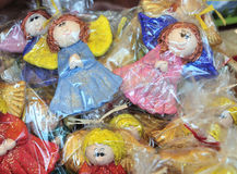 Little wooden painted angels art craft Stock Photography