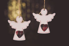 Little wooden white angels Stock Photo