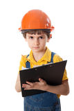 The little work superintendent with clipboard Stock Photo