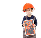 Little worker in orange helmet with tools kit isolated on white Royalty Free Stock Photo