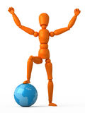 Little world. Orange mannequin with blue globe Stock Image
