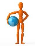 Little world. Orange mannequin with blue globe Royalty Free Stock Image