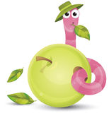 Little worm and apple Royalty Free Stock Photos