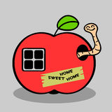 Little worm in apple house Stock Photos