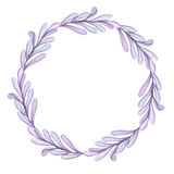 Little Wreath With Watercolor Light Violet Leaves. Little Wreath With Watercolor Light Blue and Violet Leaves royalty free illustration