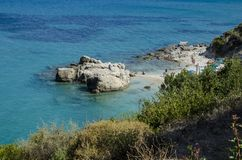 Little Xigia beach in Zakynthos royalty free stock photos